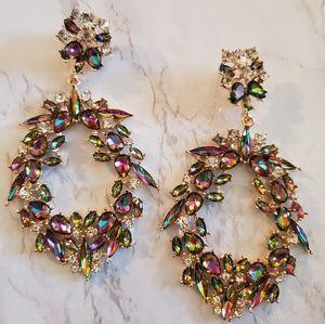 Colorful Rhinestone Dangle Hoop Earrings